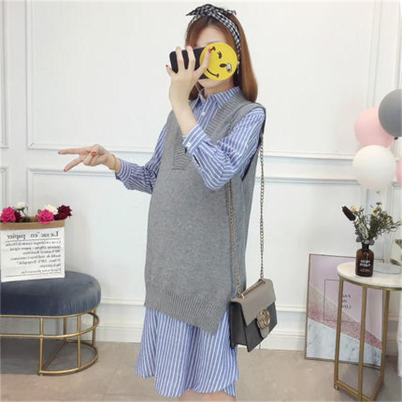 Maternity dress autumn fashion models 2018 new striped dress sweater vest two-piece curved hem striped tee dress