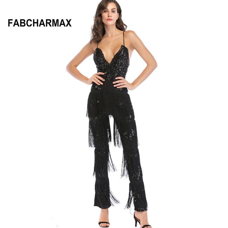 Новое поступление модное платье с блестками и бахромой женские комбинезон Комбинезоны для женщин вечерние кистями черный комбинезон сексу...