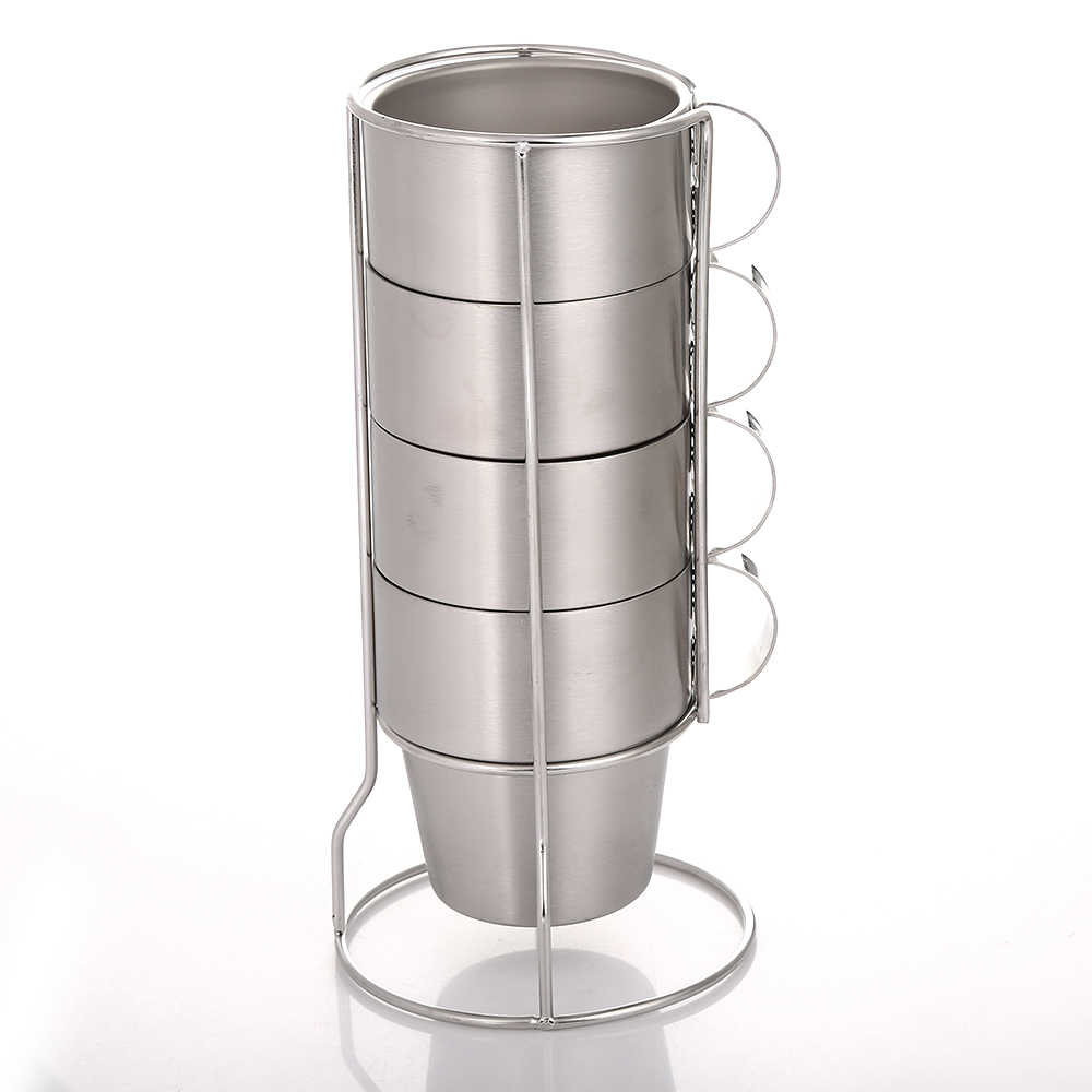 Realand 4pcs Stackable Stainless Steel 10oz Coffee Cups