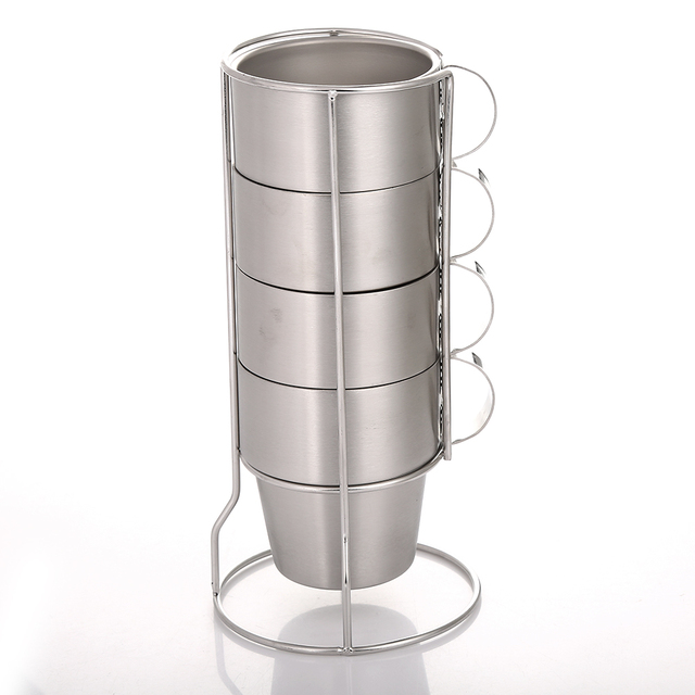 Realand 4pcs Stackable Stainless Steel 10oz Coffee Cups Double Layer