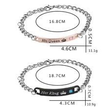 His Queen Her King Bracelets Lovers Lettering Bracelet For Wife Black Rose Gold