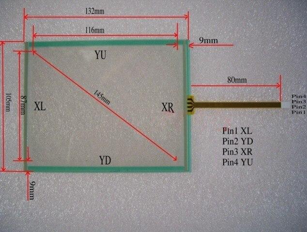 標準5.7 'インチ135 × 105ミリメートルタッチスクリーン4ワイヤータッチパネルタッチスクリーンモニターキット90日保証在庫shenfa -