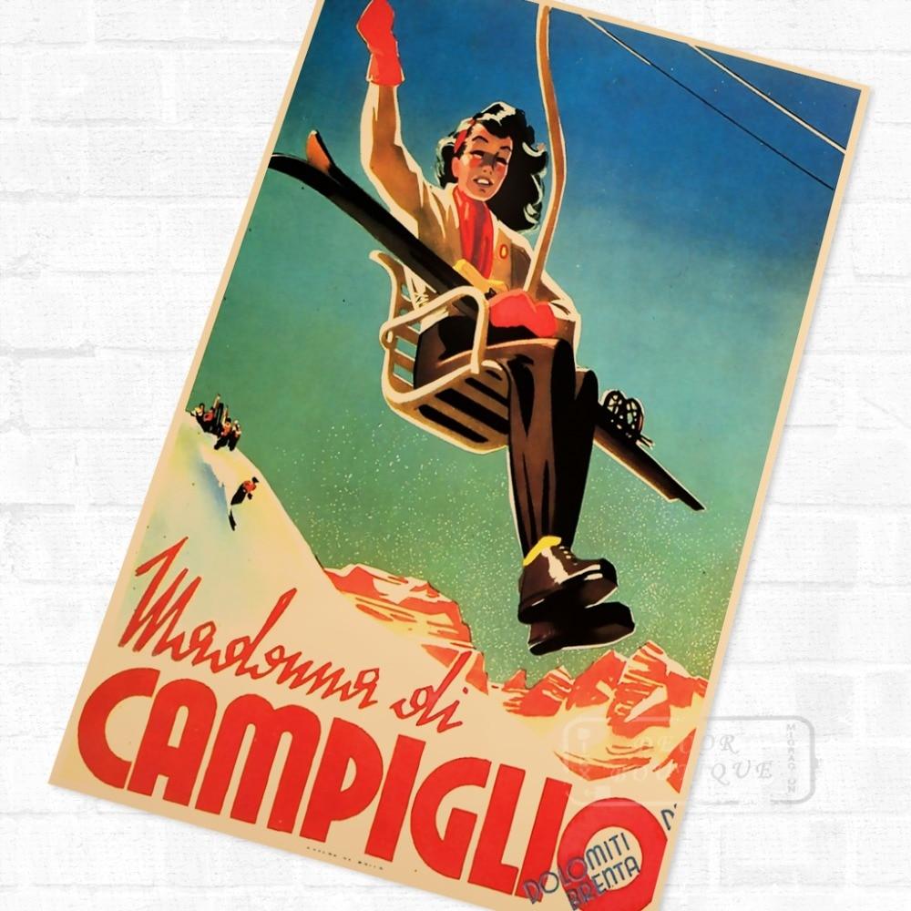 Skiing in Campiglio Italy Ski Vintage Retro Kraft Travel Poster ...