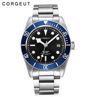 Corgeut 41 мм сапфировое стекло черный циферблат синий ободок из нержавеющей стали группой Miyota 8215 Автоматическая Мужские часы
