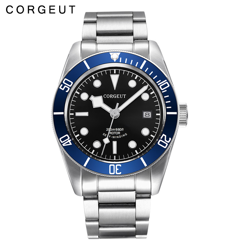 лучшая цена Corgeut 41MM Sapphire crystal black dial blue bezel stainless steel band Miyota 8215 Automatic mens Watch