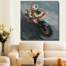 100% Hand painted Abstract Beautiful Motorcycle Oil Painting Pictures On Canvas Modern Living Room Wall Decor Picture no Framed(China)