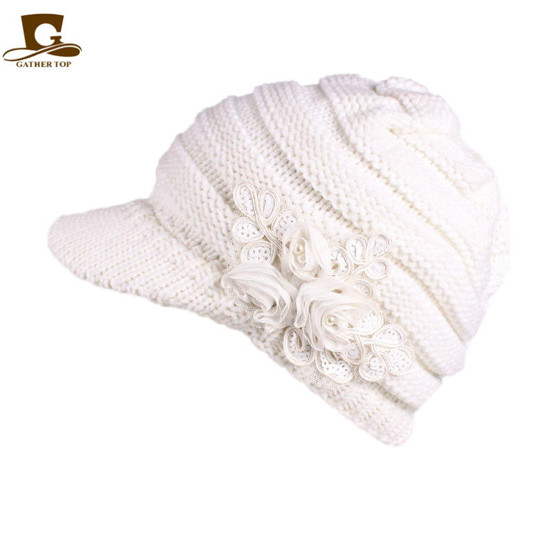 c8cbe9e47d5 Women s Cable Knit Visor Beanie Hat Beret with Flower Accent Knitted  Earflap Cap-in Skullies   Beanies from Apparel Accessories on  Aliexpress.com