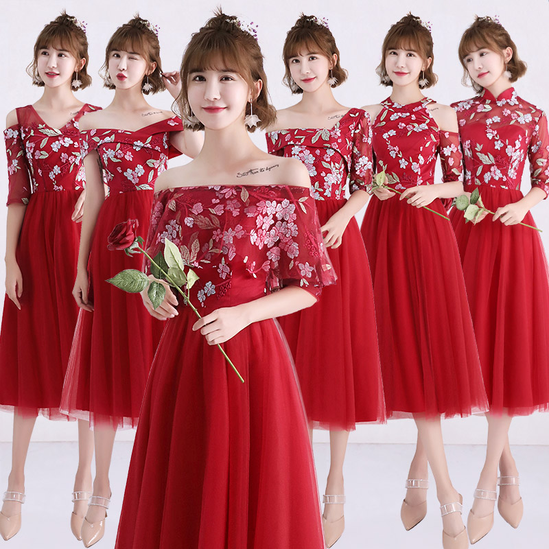 2018new stock plus size women pregnant wedding party   Bridesmaid     Dresses   flower sexy romantic A line red cheap   dresses   abe185