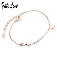 Fate Love Promotion New Charm Rose Gold Color Anklets Love Foot Jewelry Star Anklets Women Girl High Quality Anklet Gift FL015