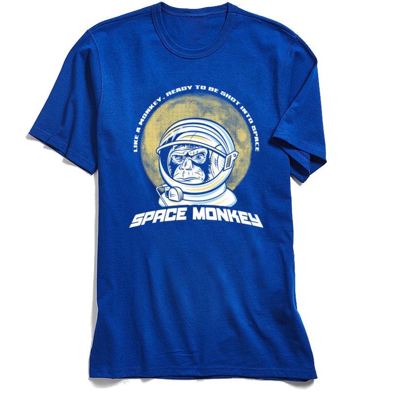 Space Monkey 2018 Newest Mens T Shirt Crew Neck Short Sleeve 100% Cotton Fabric Tees Funny Tshirts Top Quality Space Monkey blue