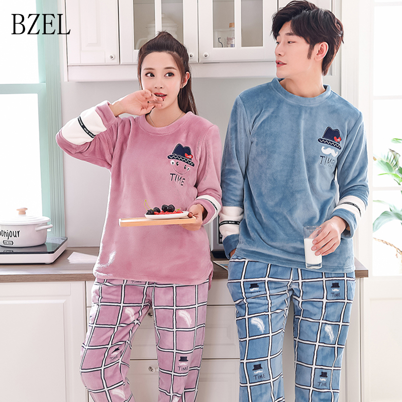 BZEL Flannel Cartoon Pajama Sets Caroset Couple Suit Casual Family Clothes For Men And Women Flano Round Neck Lovers' Clothes