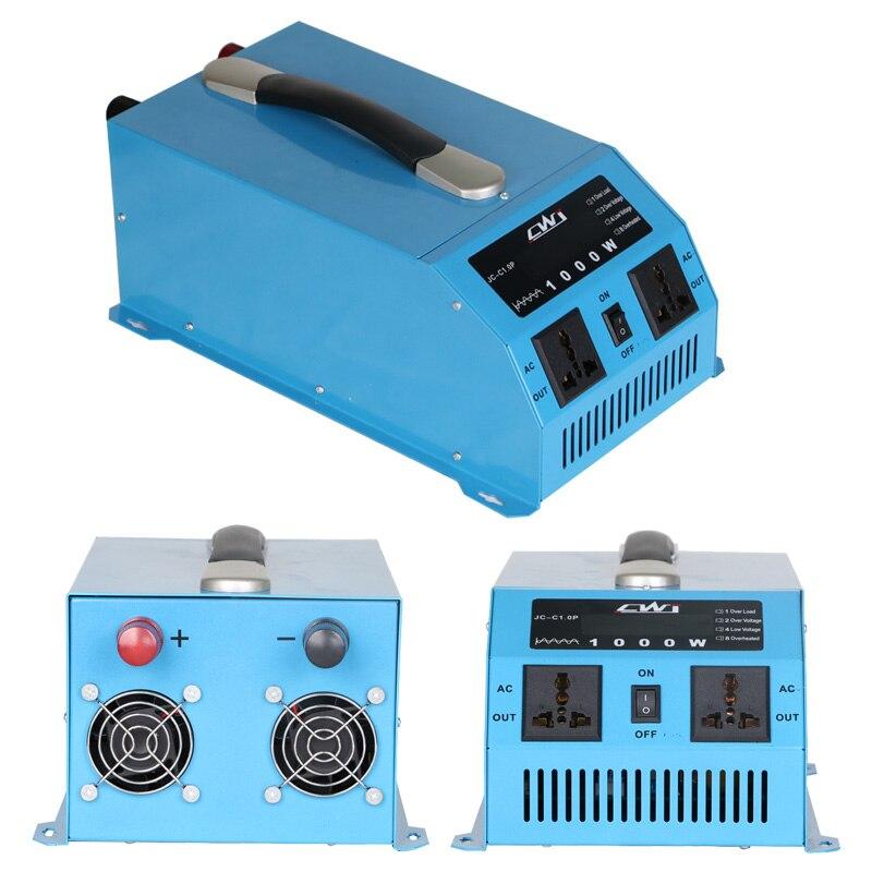 Portable 1000 W pur onduleur à onde sinusoïdale 12 V 24 V à 110 220 convertisseur de tension Multi Protection chargeur veiculaire onduleur 12 v 220 v