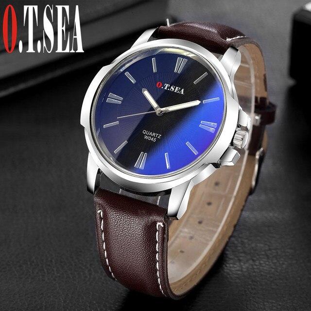 Hot Sales O.T.SEA Brand Retro Design Faux Leather Blue Ray Glass Watches Men Military Sports Quartz Wrist Watches W045