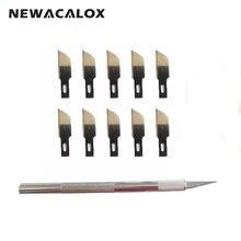 NEWACALOX 12pcs Metal Knife Blades Pen Precision Wood Carving Tools Sculpting Engraving for PCB Repair Phone Films Nicking DIY