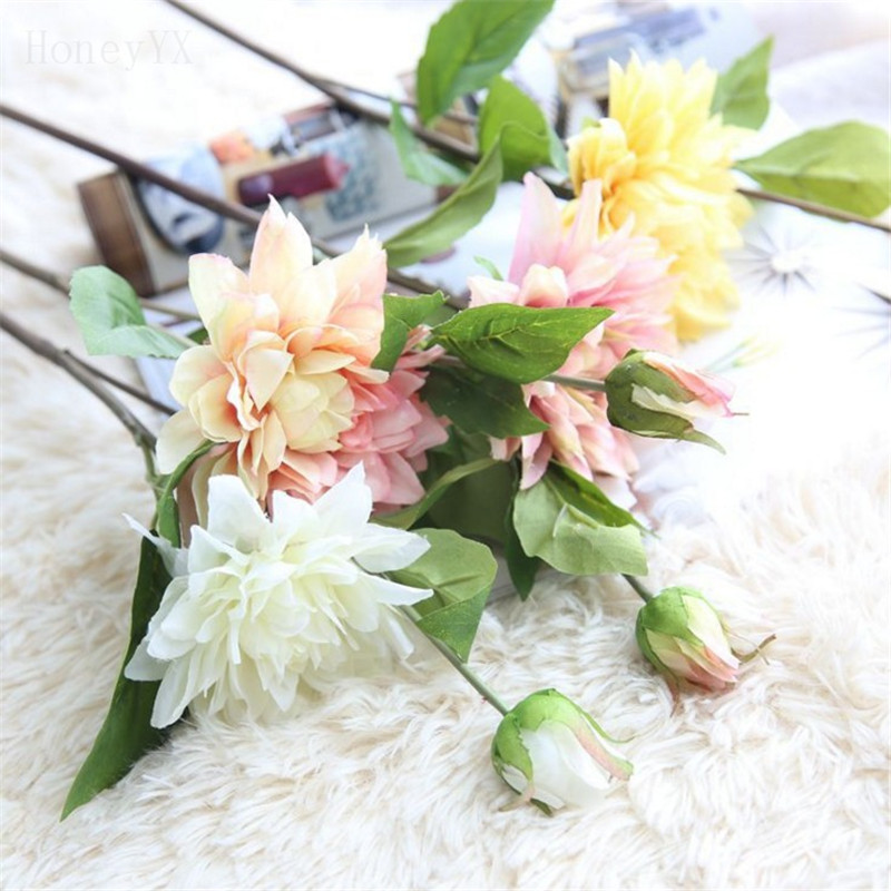 ⑤61CM Artificial Dahlia Flower Wedding Bouquet Bridal Bouquets Fake ...