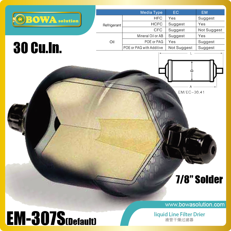 EM-307S linquid line Filter Driers with 7/8 solder connections are Providing filtration in refrigeration system & HVAC products