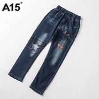 A15 Kids Boys Pants Trousers Clothes Casual Cotton Long Big Girls Trousers Jeans 2017 Autumn Elastic