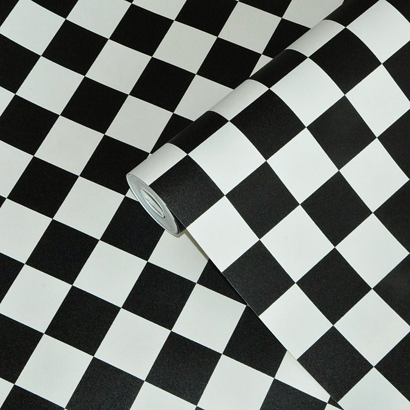Black White Plaid PVC Thickened Waterproof Wallpaper Modern Living - Black and white square vinyl flooring