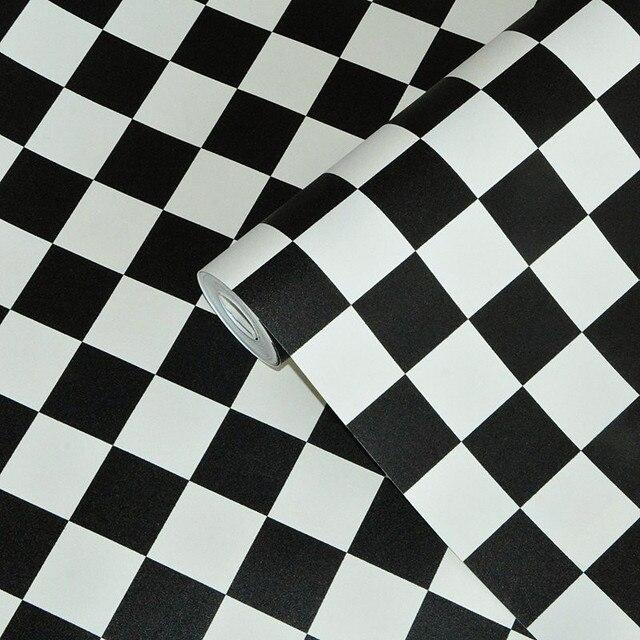Schwarz Weiß Plaid PVC Verdickt Wasserdichte Tapete Moderne Wohnzimmer  Küche Wand Dekor Vinyl Wand Papierrolle Papel
