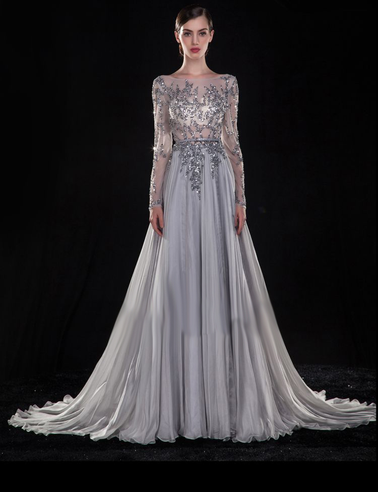 f4fb46fbd07c Long Sleeves Y Backless Prom Gown Vestido De Festa 2018 Beading Silver  Chiffon Robe Soiree
