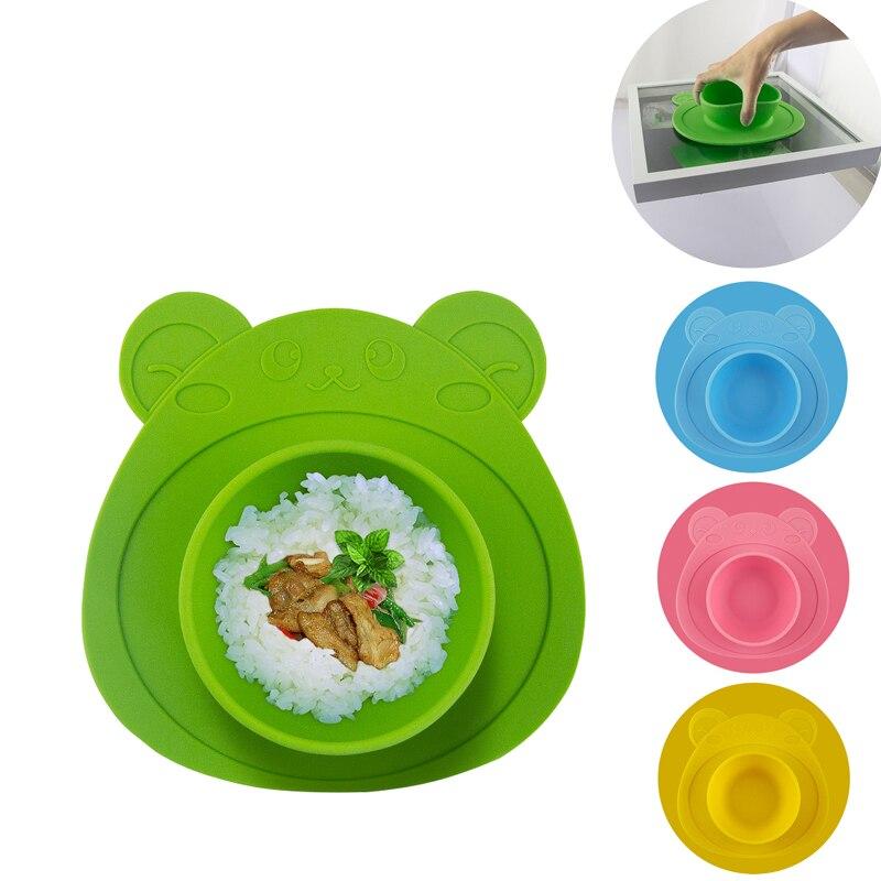 1 Pc 100% Silicone Bébé Plats Bol Avec Ventouse En Silicone alimentation Alimentation Plaque Plateau Plats Pour Bébé Enfant Kid Enfants 4 Couleur