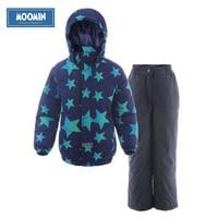 Moomin 2016 New Arrival Winter Warm Children Clothes Set Character Waterproof Snowsuit Turtleneck Zipper Boys Winter