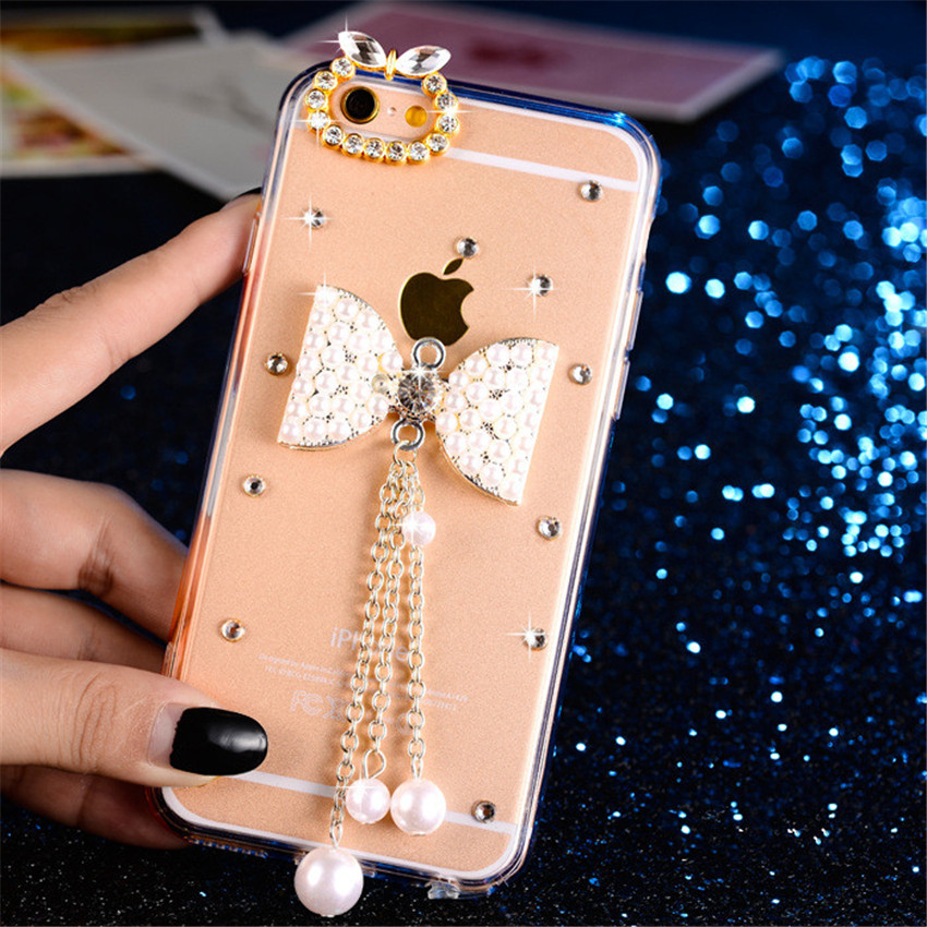 3D Bling Crystal Diamond Bowknot Rose Peacock Beautiful Girl Phone Cases For LG K10 (2018) Cover - intl