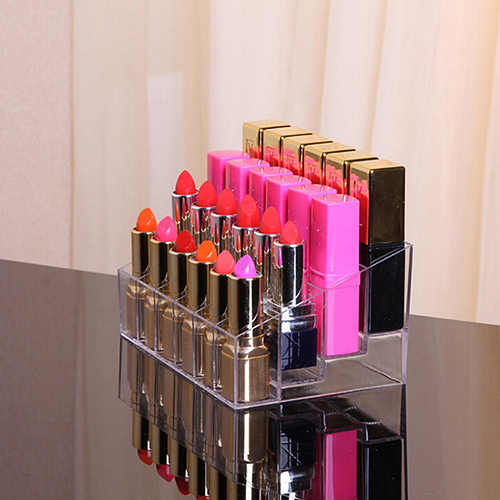 Lipstick Storage Box 24 Grid New Acrylic Transparent Makeup Organizer Cosmetic Display Stand Lipstick Holder