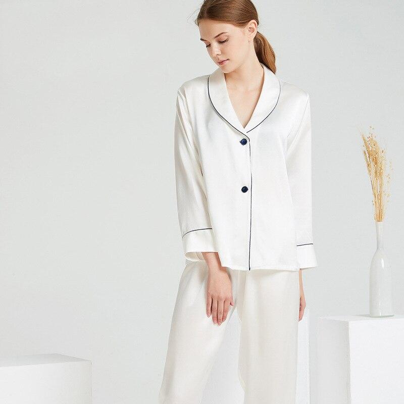 19 momme Mulberry lourd pur soie pyjamas 100% soie pyjama ensemble vêtements de nuit femmes femmes pleine longueur pyjama ensembles femmes