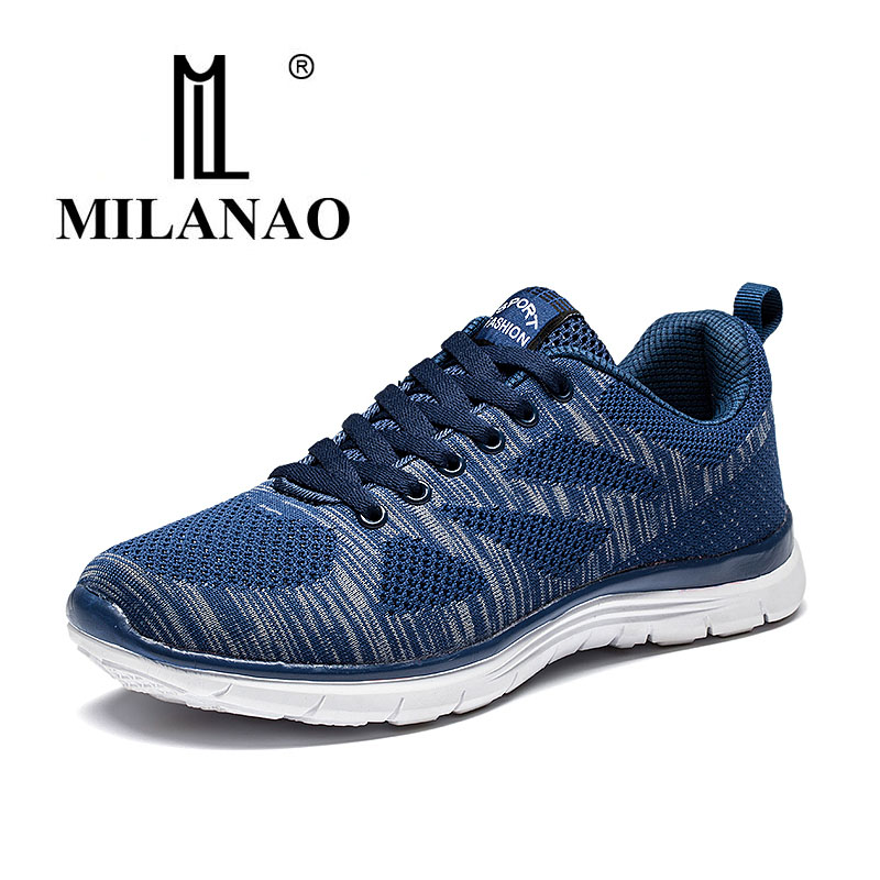 2019 MILANAO New Men Summer Casual Flyknit Racer Walking Shoes For Man & Women Breathable Sneakers Men's Krasovki zapatillas-in Men's Casual Shoes from Shoes    1