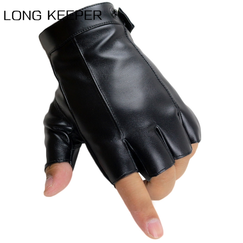Longkeeper Half Finger Gloves Men Women PU Leather Fingerless Gloves Mitten Fashion Driving Black Luvas Guantes