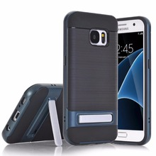 2017 new cellphone cases for Samsung Galaxy S7,100pcs/lot,fiber carbon slim kickstand cover for Glaxy S7 case,free shipping