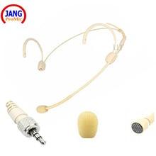Micro casque filaire Beige professionnel condensateur casque micro pour Sennheiser transmetteur sans fil 3.5 vis XLR etc.
