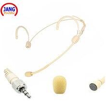 Professional Beige Wired Headset Microphone Condenser Headworn Microfone for Sennheiser Wireless Transmitter 3.5 Screw XLR etc