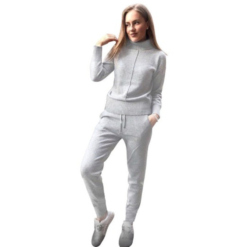 TAOVK winter Woolen and Cashmere Knitted warm Suit high Collar Sweater Mink Cashmere Pants loose style