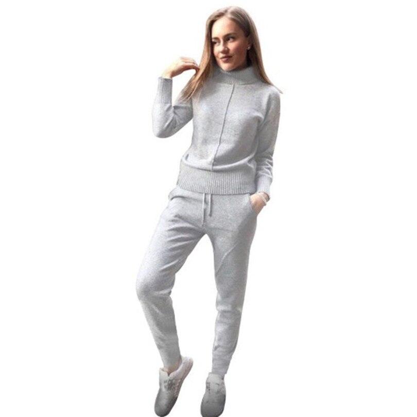 Taovk invierno de lana y cachemir de punto traje cuello alto suéter + Cachemira Pantalones estilo suelto de dos piezas conjunto de punto