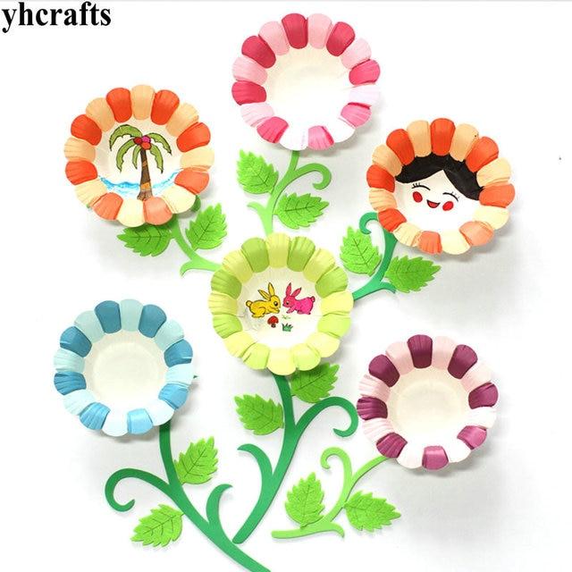 25pcs Lot 5 Color Flower Plate Craft Material Kindergarten Arts