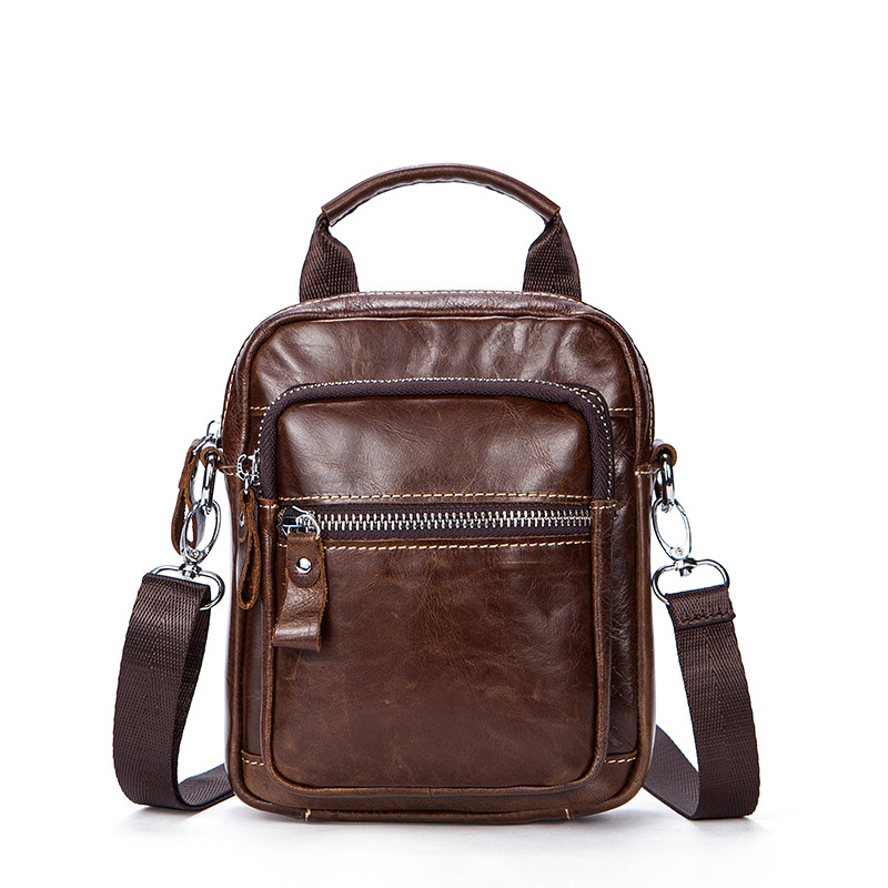 Genuine Leather shoulder bag fashion small travel bag casual business leather mens messenger bag retro handbag Crossbody Bags