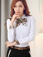 Envío Gratis coreano ol estilo manga larga Leopard tie turn-Down blusa del algodón de la mujer