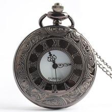 Drop Shipping Fashion Vintage Retro Bronze Black Analog Quartz Pocket Watch Roman Numerals Pendant Chain Necklace Hot Sales