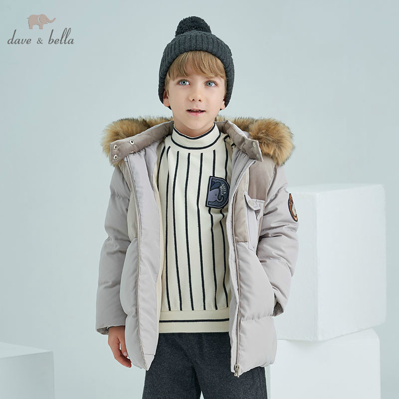 DBK8318 dave bella winter kids 5Y-13Y down jacket children white duck down padded coat boys hooded outerwear with big fur junior republic junior republic