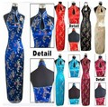 Fashion Chinese Women's Clothing Satin Halter Backless Costume Cheong-sam Long Qipao Dress Suit size S M L XL XXL XXXL J3400