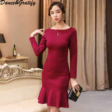 2018 New Autumn Women Long Sleeve Party Mermaid Dress High Quality Casual Slim Bodycon Chic Dresses - DISCOUNT ITEM  16% OFF Women\'s Clothing