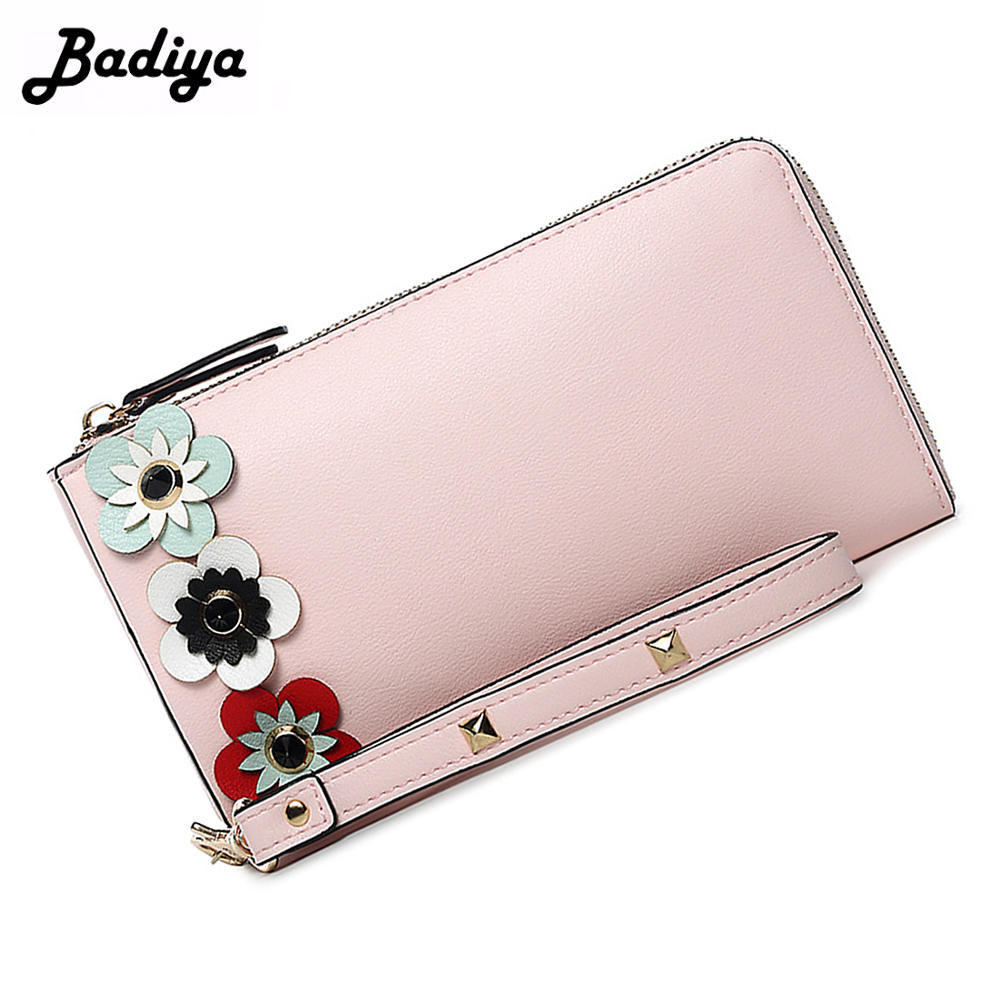 Fashion Women Flowers Decorate Long Wallet Zipper PU Leather Lady Clutch Card Holder Phone Case Purse With Wrist Belt Female Bag women lady vintage wallet clutch wallet female case phone money bag blue purse card holder crown embellishment plaid hasp wallet