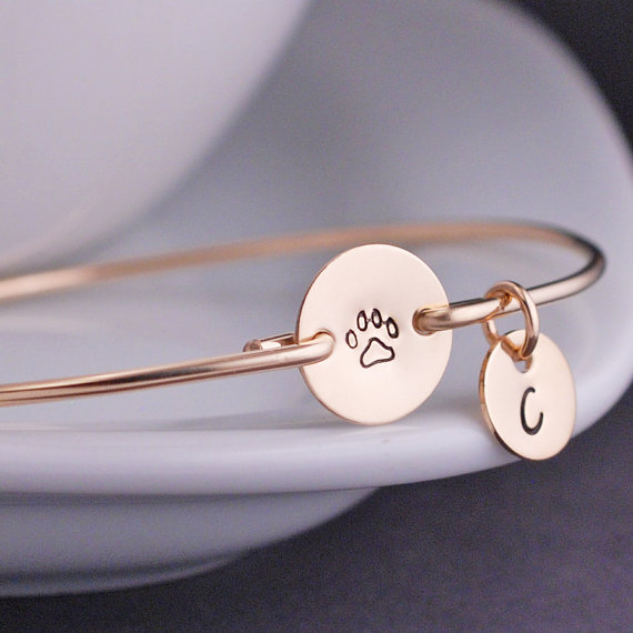 2018 Hot Gold and silver Paw Print Bracelet Hand Stamped Jewelry