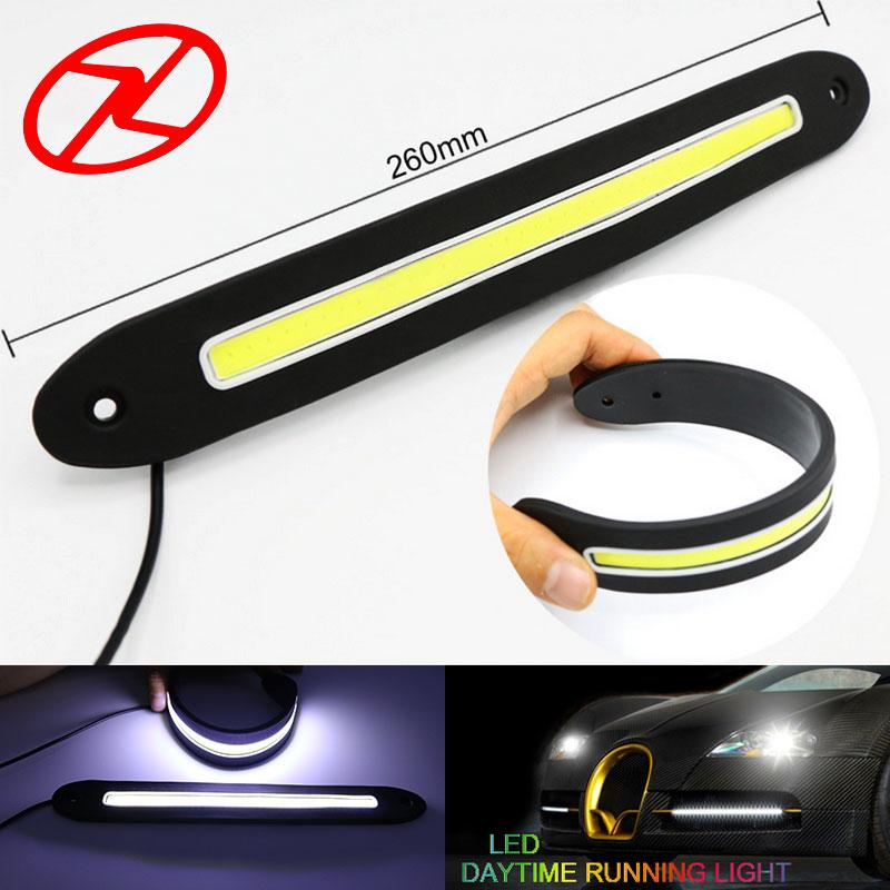2 STKS flexibel LED dagsljus COB DRL Super ljus Vit LED Vattentät körljus Dagsljus