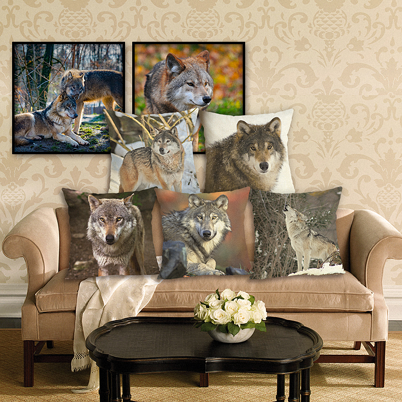 Funda cojín lobos