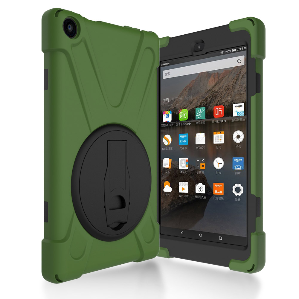 Batianda Case for All-New Amazon Fire HD 8 ( 2016 release, 6th Generation ), Full Body Rugged Cover with 360 Degree Kickstand
