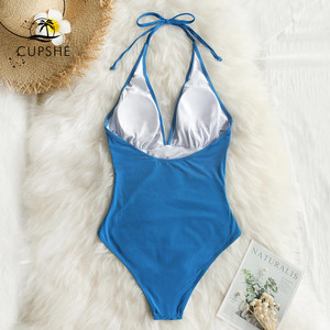 Image 5 - Cupshe Solid Blue Shirring One piece Swimsuit Women Sexy Halter V neck Plain Monokini 2020 Summer Female Beach New Swimwear