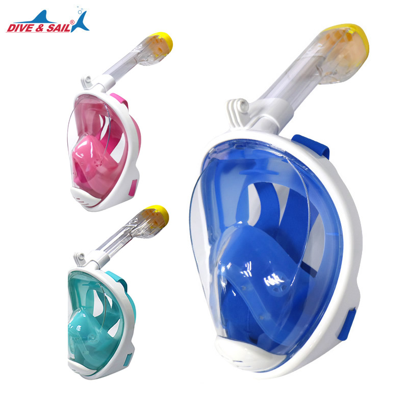 Marque Adulte Sous-Marine Plongée Snorkeing Anti Brouillard Plein Visage de masque de plongée enfants Plongée lunettes avec Anti-dérapage Anneau tuba ensemble
